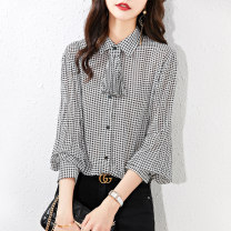 shirt White print S M L XL Spring 2021 polyester fiber 96% and above Long sleeves commute Regular Polo collar Single row multi button other 25-29 years old Straight cylinder Paradise of awakening lady SXCS2l077 Pleated button Polyester 100% Pure e-commerce (online only)