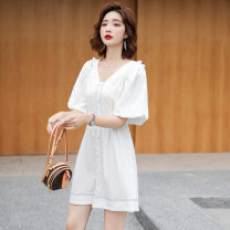 Dress Summer 2020 White black S M L Short skirt singleton  Short sleeve commute V-neck Solid color zipper A-line skirt bishop sleeve 25-29 years old Type A Paradise of awakening Simplicity zipper SXL2O249 31% (inclusive) - 50% (inclusive) nylon Pure e-commerce (online only)