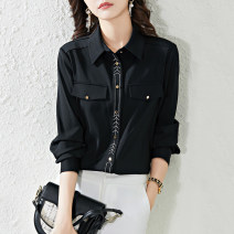 shirt Black and white S M L XL Spring 2021 polyester fiber 96% and above Long sleeves commute Short style (40cm < length ≤ 50cm) Polo collar Single row multi button shirt sleeve Solid color 18-24 years old Straight cylinder Paradise of awakening lady Embroidery Polyester 100%