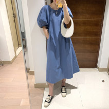 Dress Summer 2021 Blue, apricot, black Average size longuette singleton  Short sleeve commute Crew neck High waist Solid color Socket other bishop sleeve Others 25-29 years old Type H Simplicity More than 95% cotton