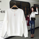 Sweater / sweater Spring of 2019 white S,M,L,XL Long sleeves routine Socket singleton  routine Crew neck easy commute routine Solid color 96% and above Korean version cotton thread cotton Cotton liner
