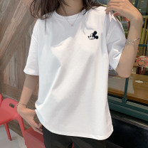 T-shirt S,M,L,XL,2XL Summer 2020 elbow sleeve Crew neck easy Regular routine commute cotton 96% and above 18-24 years old Korean version youth