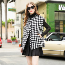 woolen coat Autumn 2020 S,M,L,XL black and white polyester fiber 31% (inclusive) - 50% (inclusive) routine Sleeveless commute Buckle Crew neck lattice Straight cylinder Retro RMO&JUL 25-29 years old Fringes, pockets, buttons Tweed