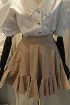 skirt Summer 2020 S,M,L,XL White, black, khaki Short skirt commute High waist A-line skirt Solid color Type A 18-24 years old 91% (inclusive) - 95% (inclusive) cotton fold Korean version