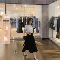 skirt Summer 2020 XXS,XS,S,M Casual grey, classic black Mid length dress commute High waist Irregular Solid color Type A 18-24 years old 81% (inclusive) - 90% (inclusive) knitting Zomio / zomio cotton Korean version