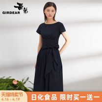 Dress Summer of 2019 S M L longuette singleton  Short sleeve commute Crew neck High waist Solid color zipper Big swing routine Others 30-34 years old Girdard / brother-in-law Simplicity Frenulum 51% (inclusive) - 70% (inclusive) cotton Same model in shopping mall (sold online and offline)