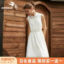 Dress Summer of 2019 White Navy S M L Mid length dress singleton  Sleeveless commute High waist Solid color zipper A-line skirt Others 30-34 years old Type A Girdard / brother-in-law Simplicity Nail bead A500067 91% (inclusive) - 95% (inclusive) polyester fiber