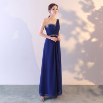Dress / evening wear Wedding, adulthood, party, company annual meeting, performance, routine, appointment Intellectuality longuette High waist Winter of 2019 Self cultivation Chest type zipper polyester 18-25 years old Sleeveless Nail bead Solid color other 81% (inclusive) - 90% (inclusive) Sequins