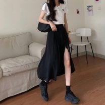 skirt Summer 2020 S,M,L black Mid length dress commute High waist A-line skirt Solid color Type A 18-24 years old 71% (inclusive) - 80% (inclusive) Korean version