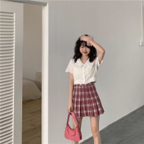 Fashion suit Summer 2021 Average size White shirt, peach Plaid s, peach Plaid M 18-25 years old