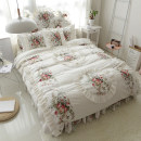 Bedding Set / four piece set / multi piece set cotton other Plants and flowers 133x72 Tang Qianyue cotton 4 pieces 40 Off white, purple, red 1.2m (4 feet) bed, 1.5m (5 feet) bed, 1.8m (6 feet) bed, 2.0m (6.6 feet) bed, 1.8 bed skirt, quilt cover 220 * 240, 2m bed skirt, quilt cover 200 * 230 100%