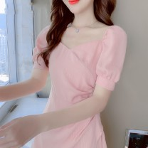 Dress Summer 2020 Pink, white 536 S,M,L,XL Middle-skirt singleton  Short sleeve commute V-neck High waist Solid color Socket A-line skirt puff sleeve Others 25-29 years old Type A Korean version Ruffle, pleat, fold, stitching, asymmetry, zipper 32413L520131893 other