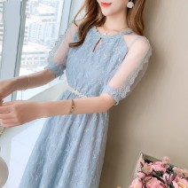 Dress Summer 2020 S,M,L,XL Mid length dress singleton  Short sleeve commute Crew neck High waist Solid color Socket A-line skirt other Others 25-29 years old Type A Korean version other