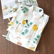 Pajamas / housewear set female Other / other M, L cotton three quarter sleeve Sweet Leisure home spring Thin money stand collar Plants and flowers trousers Tether one-piece garment Tether More than 95% pure cotton printing longuette