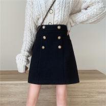 skirt Winter 2020 M,L,XL,2XL,3XL,4XL black Short skirt Versatile High waist A-line skirt Solid color Type A 18-24 years old 51% (inclusive) - 70% (inclusive) Wool cotton Button, zipper