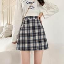 skirt Summer 2021 S,M,L,XL,2XL,3XL,4XL Blue lattice Short skirt Versatile High waist Pleated skirt lattice Type A More than 95% other other