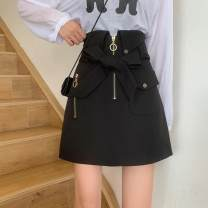 skirt Autumn 2020 S,M,L,XL,2XL,3XL,4XL black Short skirt commute High waist A-line skirt Solid color Type A 25-29 years old other polyester fiber Frenulum Korean version