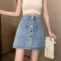 skirt Spring 2021 S,M,L,XL,2XL,3XL,4XL,5XL Denim blue Short skirt Versatile High waist Denim skirt Solid color Type A 81% (inclusive) - 90% (inclusive) Denim cotton Pocket, button