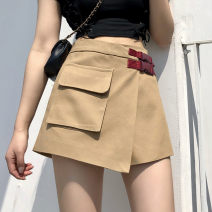 skirt Spring 2021 4XL,3XL,2XL,S,M,L,XL Khaki, black Short skirt Versatile High waist Irregular Solid color Type A 71% (inclusive) - 80% (inclusive) other nylon Pocket, asymmetric, strap, button, zipper 201g / m ^ 2 (including) - 250G / m ^ 2 (including)