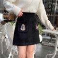 skirt Winter 2020 S,M,L,XL,2XL,3XL,4XL Black velvet Short skirt commute High waist A-line skirt Solid color Type A 91% (inclusive) - 95% (inclusive) Wool polyester fiber Korean version