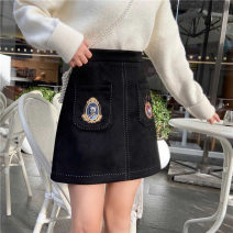 skirt Winter 2020 S,M,L,XL,2XL,3XL,4XL Black velvet Short skirt commute High waist A-line skirt Solid color Type A 91% (inclusive) - 95% (inclusive) Wool polyester fiber Korean version