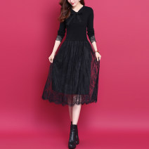 Dress Autumn 2020 black S,M,L,XL Mid length dress Fake two pieces Long sleeves commute Crew neck middle-waisted Solid color Socket A-line skirt routine Others Type A lady Bowknot, Gouhua, hollow out, splicing, gauze, lace WS08 51% (inclusive) - 70% (inclusive) knitting wool