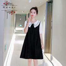 Dress Other / other Black, blue M,L,XL,XXL Korean version Short sleeve Medium length summer Lapel Solid color