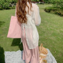 skirt Summer 2021 Mid length dress Versatile High waist other Solid color Type A 18-24 years old 31% (inclusive) - 50% (inclusive) other other Average size, 3-5 days Pink