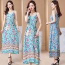 Dress Summer 2021 1, 2, 3, 4, 5, 6, 7, 8 XL [recommended 90-110 kg], 2XL [recommended 110-125 kg], 3XL [recommended 125-140 kg], 4XL [recommended 140-155 kg], 5XL [recommended 155-170 kg] longuette singleton  Sleeveless commute V-neck Elastic waist Decor Socket Big swing routine 25-29 years old lady