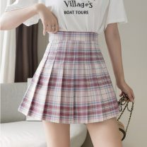 skirt Summer 2021 S,M,L,XL Strawberry milk cover plaid skirt Short skirt Sweet High waist Pleated skirt lattice Type A 18-24 years old More than 95% other other Pleated, zipper college