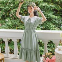 Dress Summer 2021 Light green S,M,L Mid length dress singleton  Short sleeve commute Crew neck Elastic waist Solid color Socket Ruffle Skirt routine Others 18-24 years old Type A Bowknot, embroidery, fold, Auricularia auricula, lace, stitching 31% (inclusive) - 50% (inclusive) other