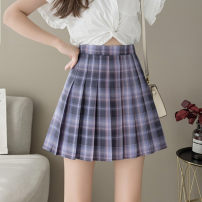 skirt Summer 2021 S,M,L,XL Romantic immortal plaid skirt Short skirt Sweet High waist Pleated skirt lattice Type A 18-24 years old More than 95% other other Pleated, zipper college