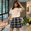 Fashion suit Summer 2021 S,M,L White T-shirt, plaid pleated skirt, suit 18-25 years old Other / other four point two three 91% (inclusive) - 95% (inclusive) cotton
