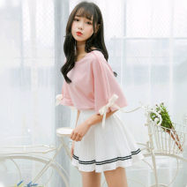Fashion suit Summer 2021 S. M, l, average size Apricot, white, pink, white, lotus root powder, pink t-shirt + white pleated skirt, apricot T-shirt + lotus root powder skirt, white T-shirt + lotus root powder skirt 18-25 years old Little paste 96% and above cotton