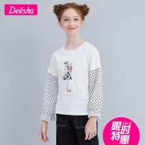 T-shirt Benbai goes into the shop Deesha / Desha 120cm 130cm 140cm 150cm 160cm 165cm female spring and autumn Long sleeves Crew neck princess There are models in the real shooting nothing cotton Wave point Cotton 95% polyurethane elastic fiber (spandex) 5% Spring 2021