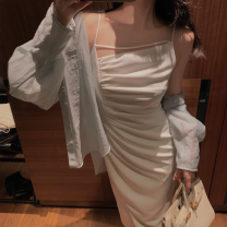 Dress Summer 2021 White, black, greyish green S,M,L,XL longuette singleton  Sleeveless commute Solid color Socket camisole 18-24 years old Type H Simplicity other polyester fiber