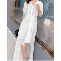 Dress Summer 2020 white S,XL,L,M Mid length dress singleton  Short sleeve commute Polo collar High waist Solid color zipper Irregular skirt routine Others 18-24 years old LM Asymmetric, ruffle, pocket, stitching other other