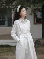 Dress Spring 2021 white Average size Mid length dress singleton  Long sleeves commute Solid color Socket A-line skirt other Others Type A Other / other Korean version other cotton