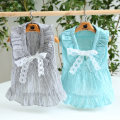 Pet clothing / raincoat currency Dress XS S M L XL Fyongpet / Fengyong Beibei princess Seagull grey lake water blue Vintage skirt with cut out lace collar