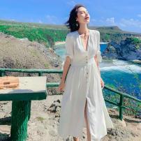 Dress Summer of 2019 white S,M,L,XL Mid length dress singleton  Short sleeve commute V-neck High waist Solid color A-line skirt Type A Simplicity Button cotton