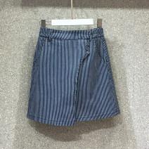 skirt Spring 2020 S,M,L,XL stripe Short skirt Versatile High waist Irregular Solid color Type A 71% (inclusive) - 80% (inclusive) Denim cotton Button