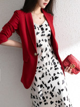Women's large Spring 2021, autumn 2021 Red [one piece suit], black [one piece suit], red [coat + pants], black [coat + pants] Large L, m, 1XL, 2XL, 3XL, 4XL, 5XL suit singleton  commute Self cultivation moderate Cardigan Long sleeves Korean version Polo collar Medium length polyester routine pocket