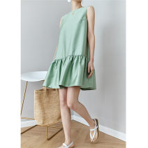 Dress Summer 2020 White, black, mint green XS,S,M,L,XL,2XL Short skirt Sleeveless street Crew neck High waist Solid color Socket Ruffle Skirt Others Type A 71% (inclusive) - 80% (inclusive) Silk and satin Europe and America