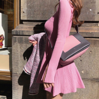 Dress Winter of 2019 Pink S,M,L singleton  Long sleeves Sweet Crew neck High waist Solid color Socket routine Others 18-24 years old Type A Other / other 31% (inclusive) - 50% (inclusive)