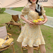 Dress Spring 2021 Pink, yellow, pink (in stock), yellow (in stock) XS,S,M,L Short skirt singleton  Short sleeve commute square neck High waist Broken flowers A-line skirt puff sleeve Others 18-24 years old Type A Korean version CWQ21D2261 31% (inclusive) - 50% (inclusive) other other