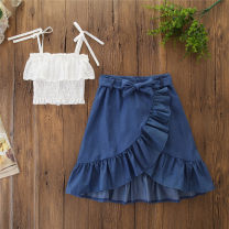 suit SAMGAMI BABY As shown in the figure 90cm,100cm,110cm,120cm,130cm female summer leisure time Sleeveless + skirt 2 pieces Thin money No model Socket nothing other cotton children Expression of love Class A Cotton 95% other 5% 2 years old, 3 years old, 4 years old, 5 years old, 6 years old