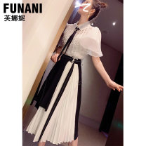 skirt Summer 2020 S M L XL Black skirt longuette commute High waist A-line skirt Solid color 25-29 years old F2020475B More than 95% Phoenicia polyester fiber Splicing Polyester 98.2% polyurethane elastic fiber (spandex) 1.8% Pure e-commerce (online only)