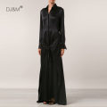 Dress Summer 2021 Black 20 mm silk stretch satin S,M,L,XL longuette Fake two pieces Long sleeves commute Polo collar High waist Solid color Single breasted Big swing routine DJM Ol style Strap, button SQ2012 More than 95% Silk and satin silk