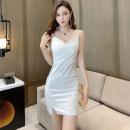 Dress Summer 2020 White, black Average size Short skirt singleton  commute V-neck High waist Solid color Socket camisole Type H Korean version 31% (inclusive) - 50% (inclusive) brocade cotton
