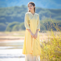Dress Summer 2020 Yellow, blue, yellow S,M,L Mid length dress singleton  elbow sleeve commute V-neck Loose waist Socket Irregular skirt routine Others 25-29 years old Type A Dream of leisure Simplicity 51% (inclusive) - 70% (inclusive) cotton